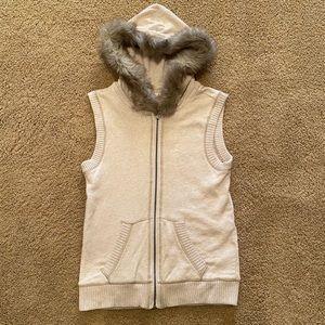 Tan Aeropostale Faux Fur Hooded Vest